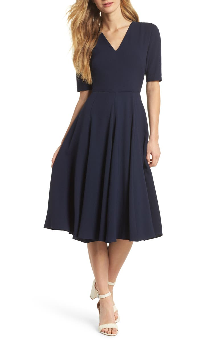 GAL MEETS GLAM COLLECTION Edith City Crepe Fit & Flare Midi Dress, Main, color, NAVY
