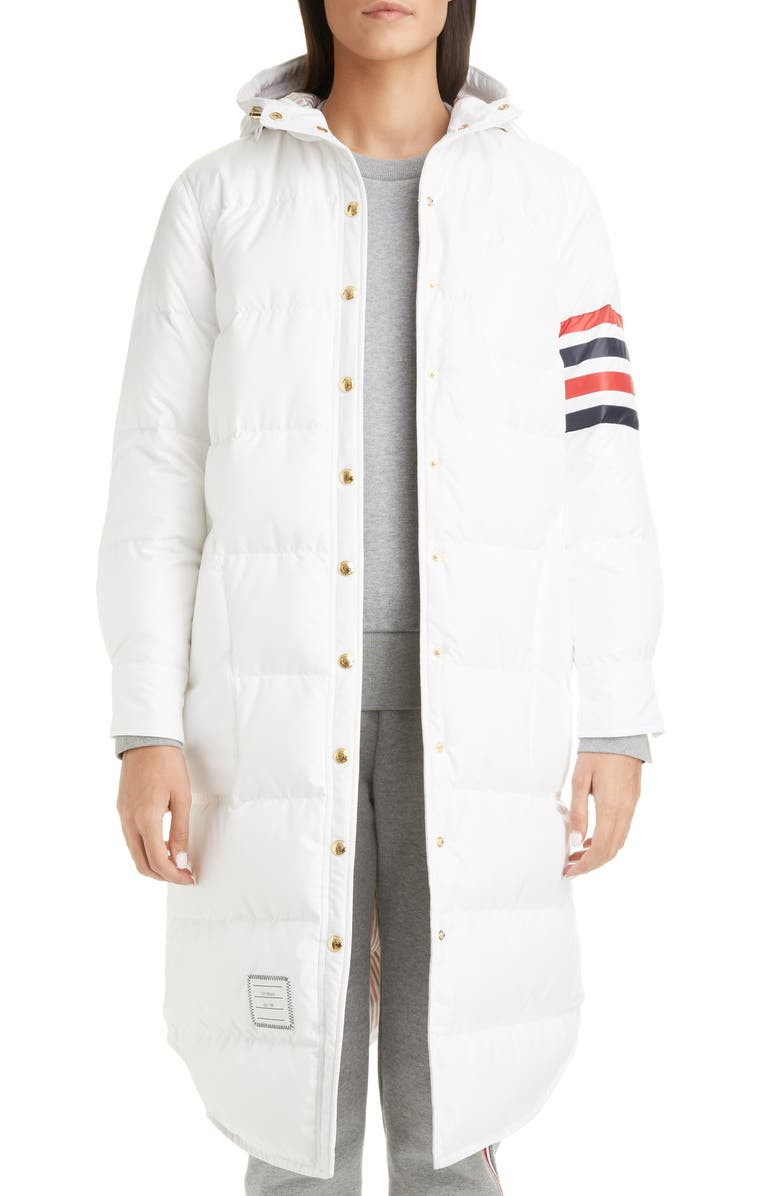 THOM BROWNE 4-Bar Down Fill Puffer Coat, Main, color, WHITE
