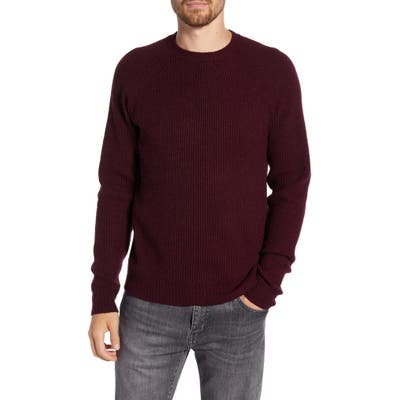 Schott Nyc Ribbed Wool Blend Sweater, Burgundy