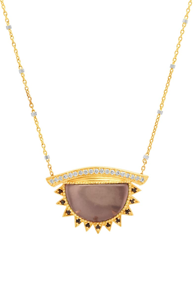 CONGÉS I See You See Love Rose Quartz Large Third Eye Necklace, Main, color, YELLOW GOLD