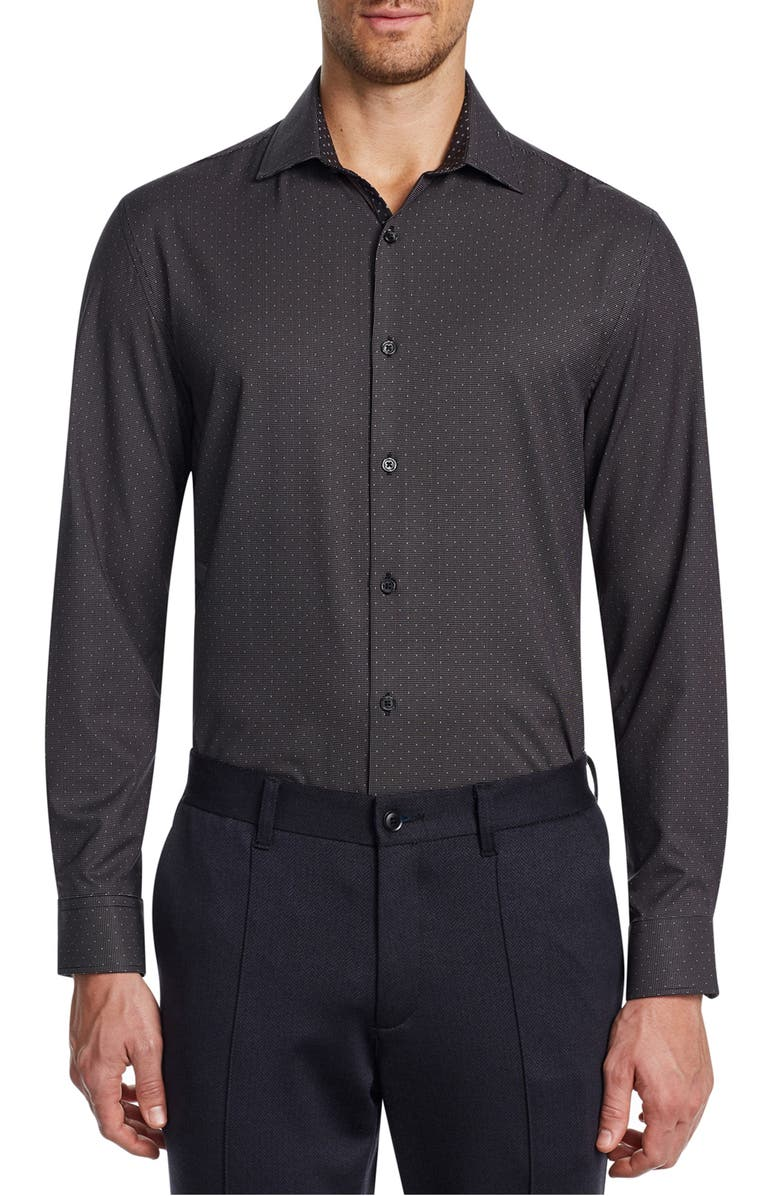W.R.K Trim Fit Performance Stretch Dot Dress Shirt, Main, color, BLACK