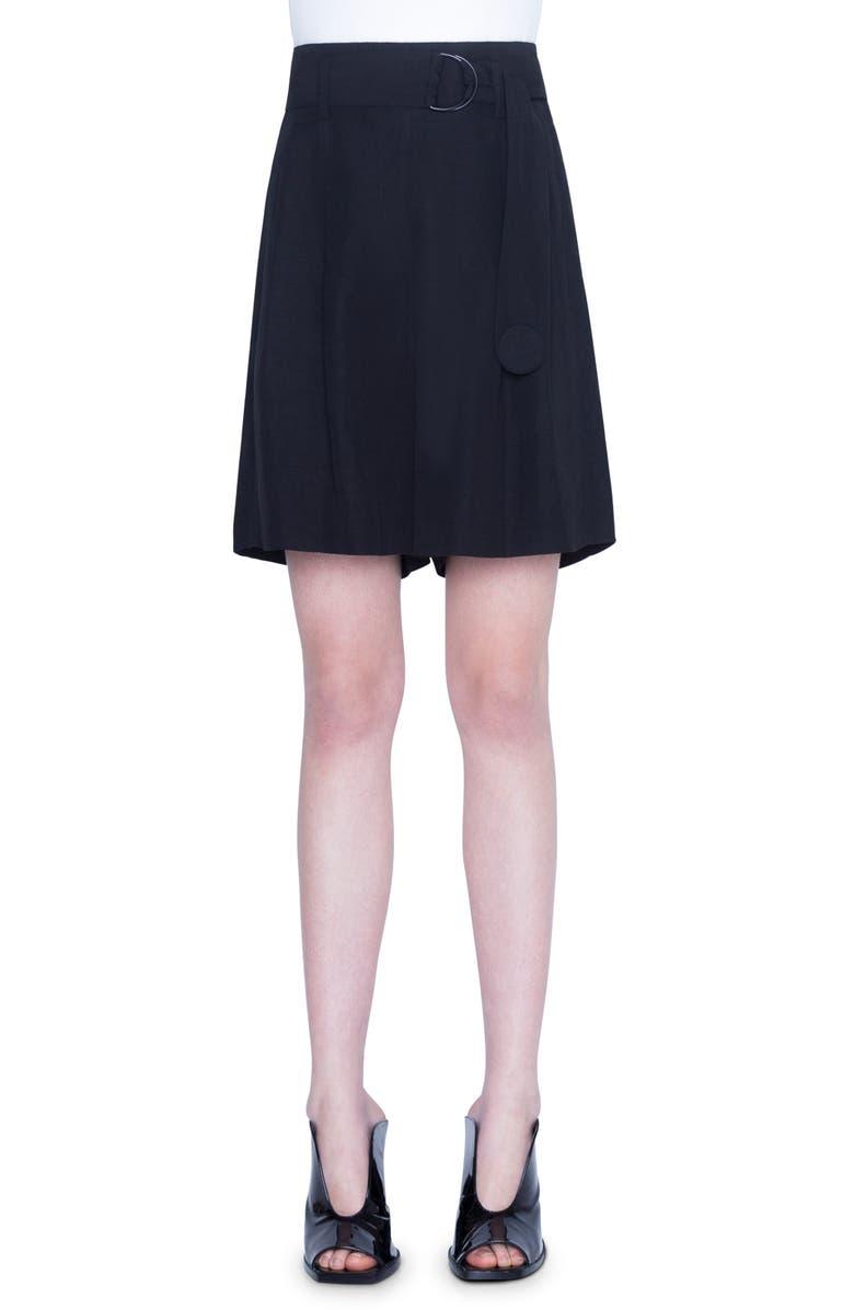 AKRIS PUNTO Belted Shorts, Main, color, BLACK
