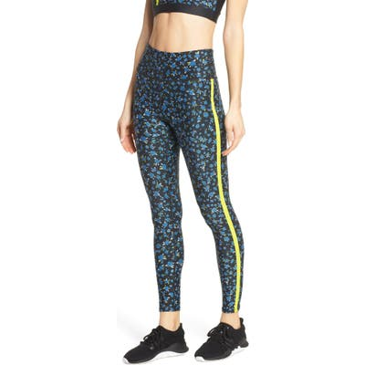 Soul By Soulcycle Stripe Floral Print Tights, Black