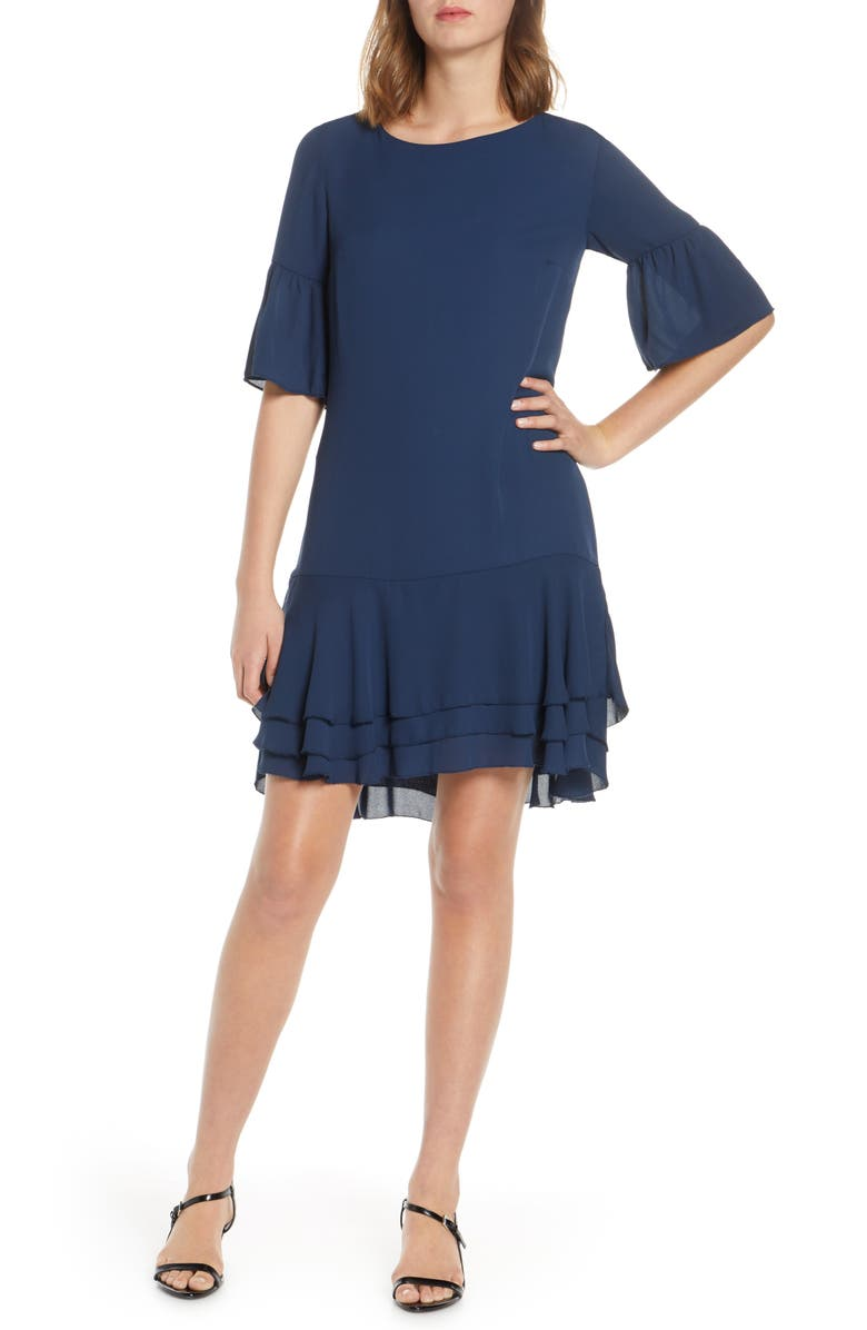 FOREST LILY Ruffle Georgette Shift, Main, color, NAVY