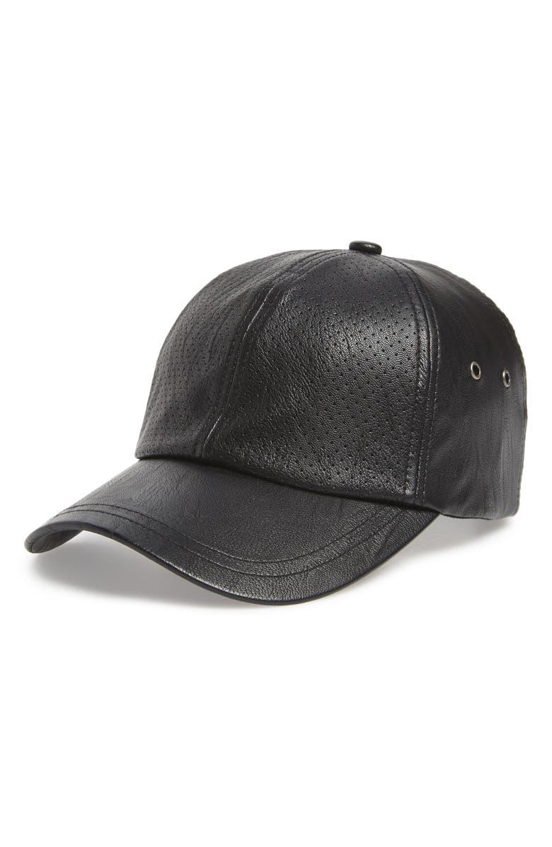 SWEAT ACTIVE Faux Leather Baseball Cap, Main, color, BLACK