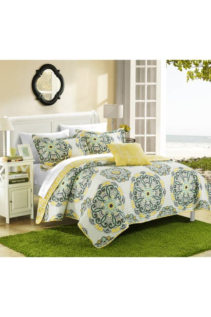 Image of Chic Home Bedding Full/Queen Mirador Reversible Printed Quilt Set - Yellow