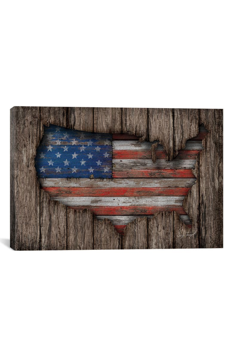 ICANVAS 'American Wood Flag' Giclée Print Canvas Art, Main, color, BROWN/ RED/ WHITE/ BLUE/ BLACK