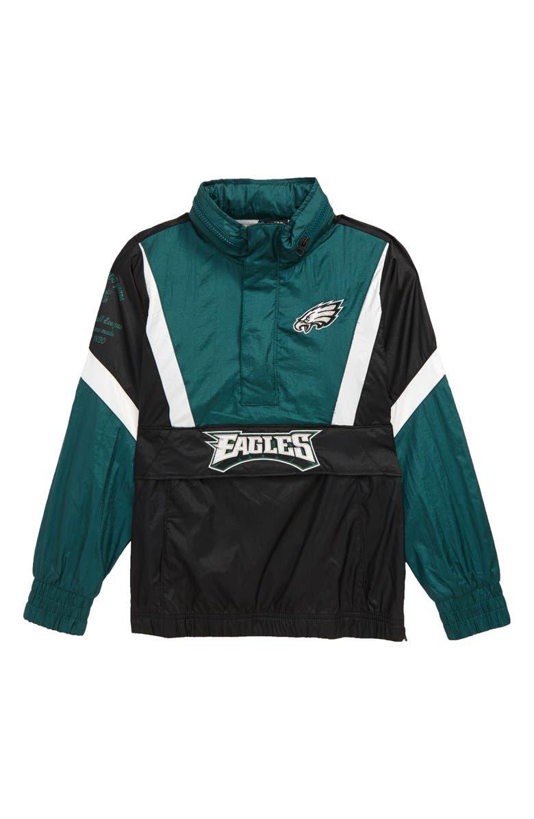 OUTERSTUFF NFL Logo Philadelphia Eagles Crinkle Half Zip Pullover, Main, color, BLACK