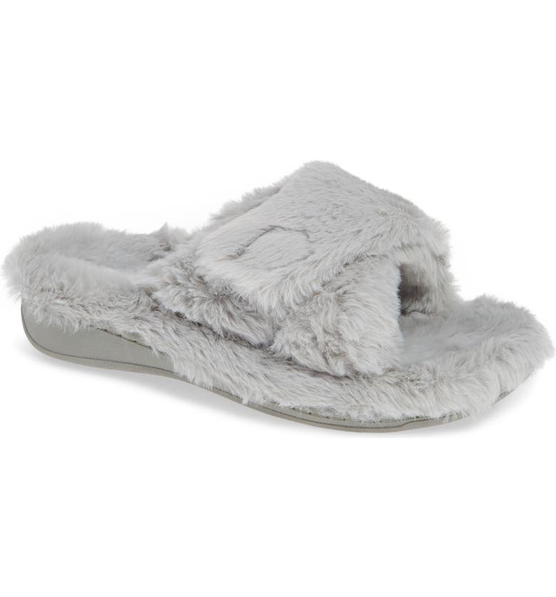 VIONIC Relax Plush Slipper, Main, color, LIGHT GREY