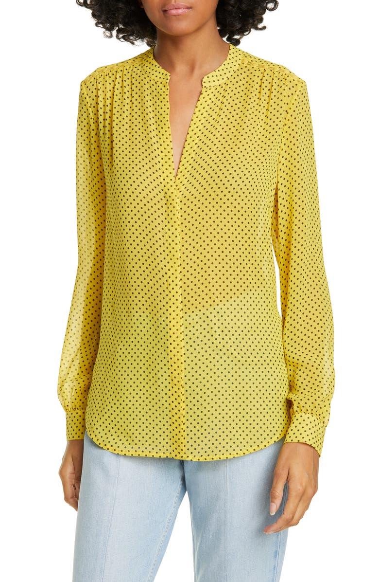 Joie Mintee G Polka Dot Silk Top