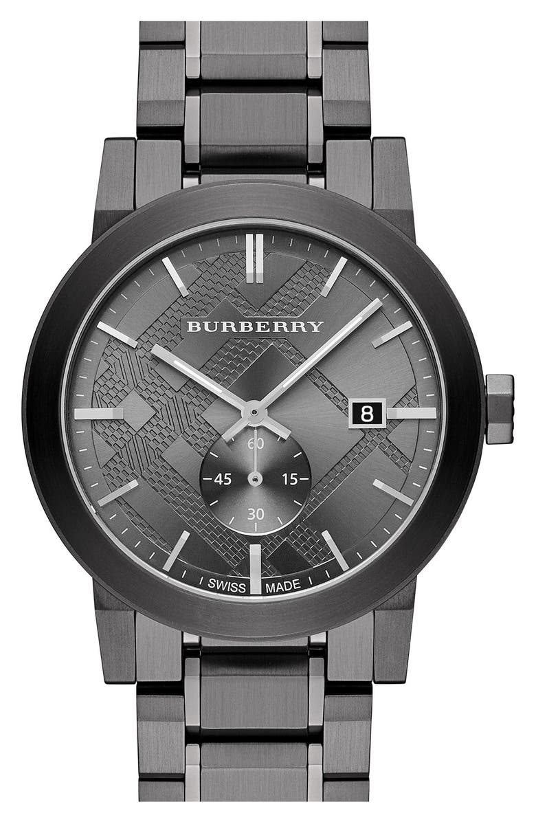 BURBERRY Check Stamped Bracelet Watch, 42mm, Main, color, 020