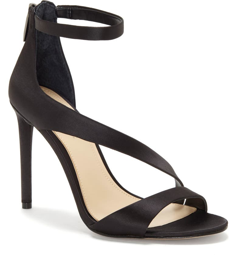IMAGINE BY VINCE CAMUTO Floral Strappy Sandal, Main, color, BLACK SATIN