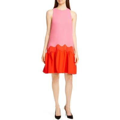 Lela Rose Wave Contrast Hem Wool Blend Dress, Pink
