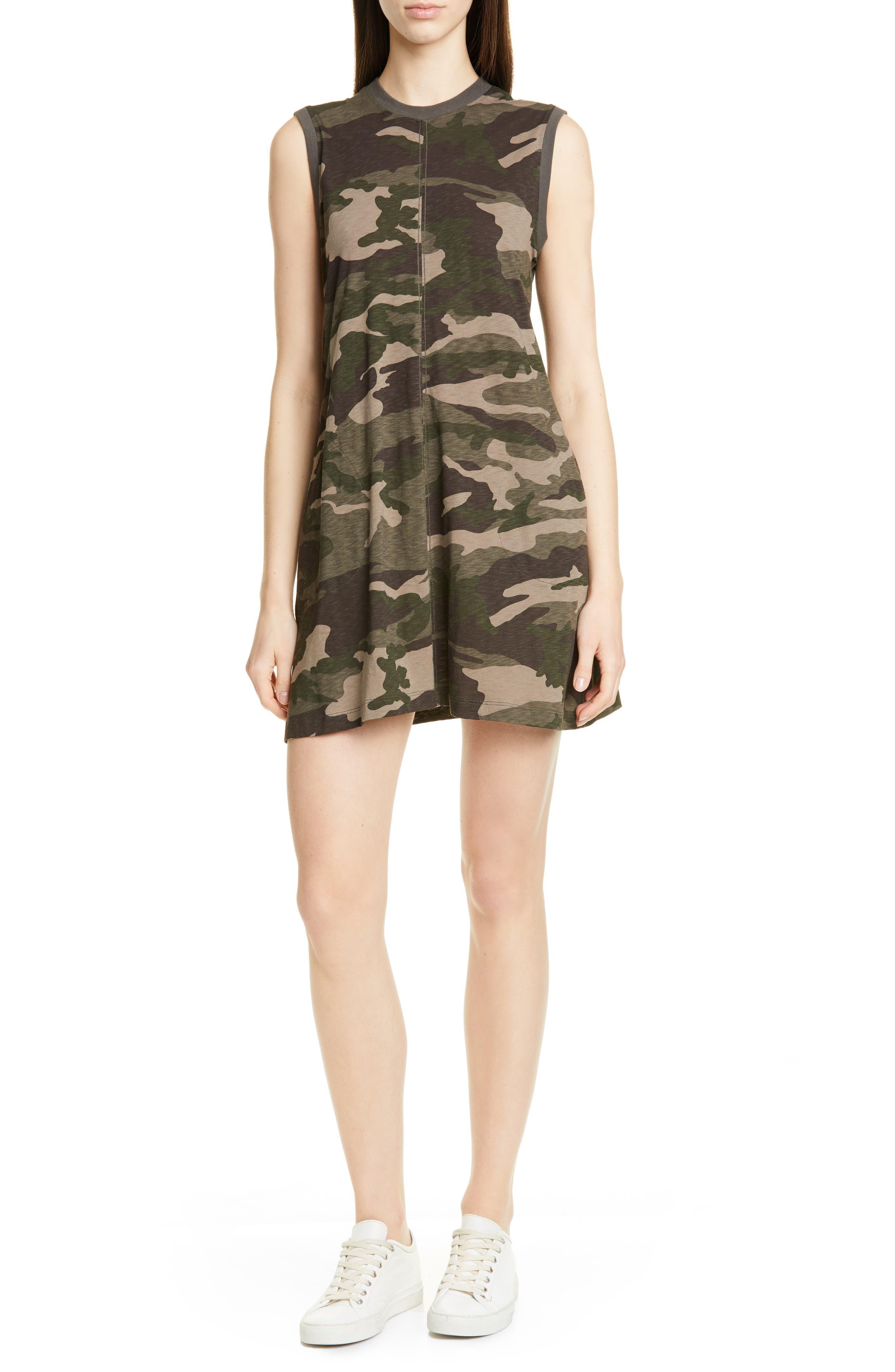 Atm Anthony Thomas Melillo Camo Print Slub Jersey Tank Dress, Green