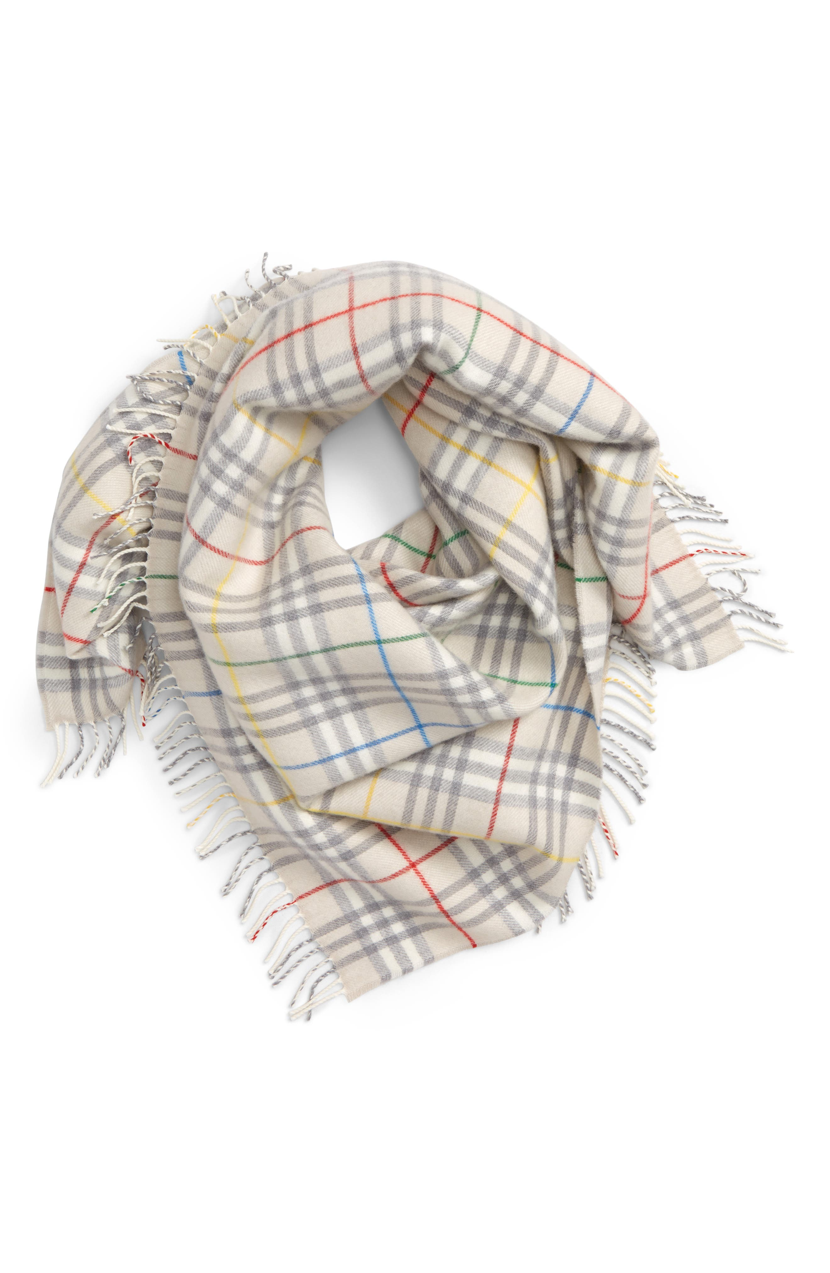 ,                             Vintage Check Rainbow Wool Scarf,                             Main thumbnail 1, color,                             250