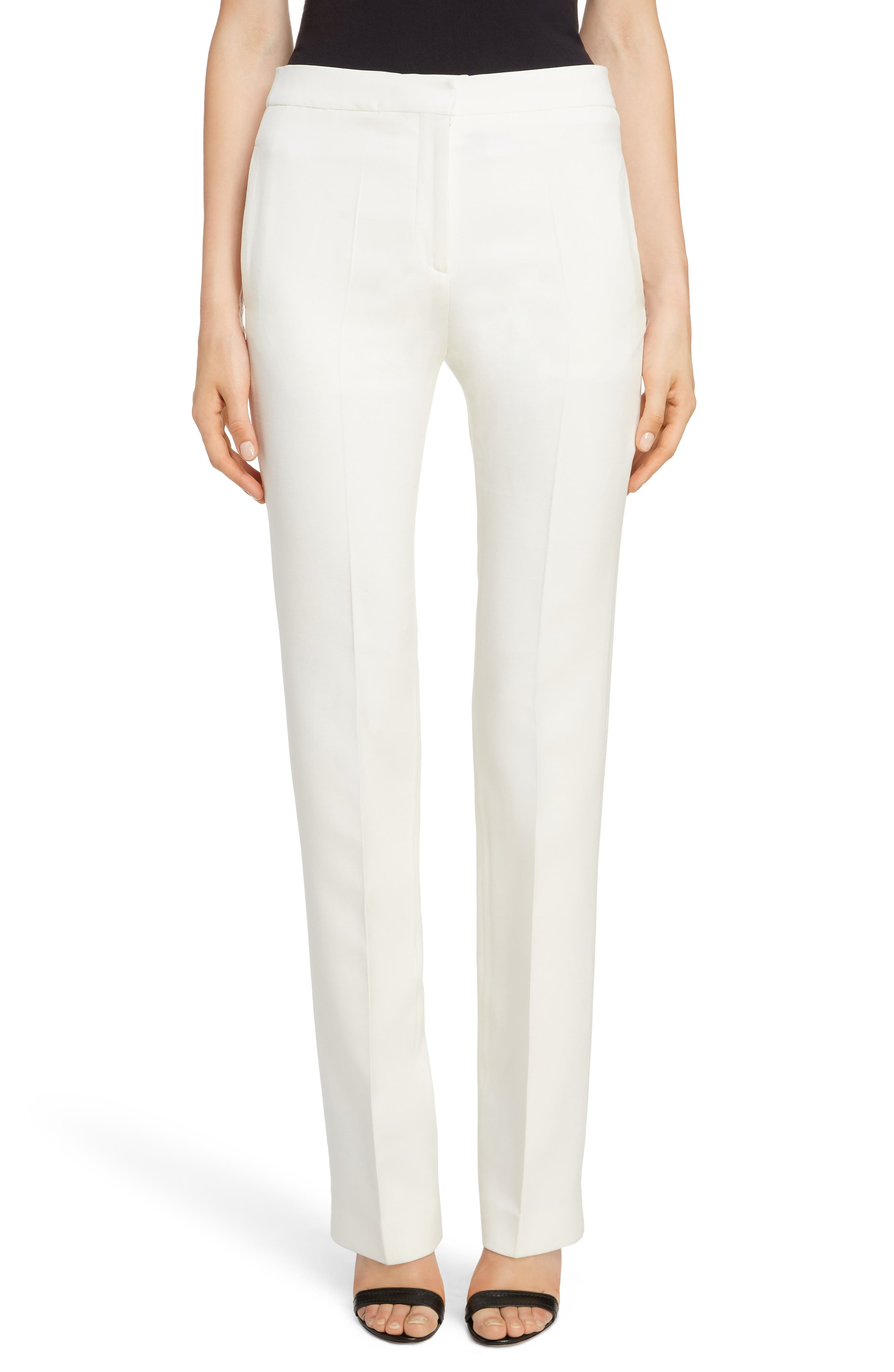 Wool & Silk Blend Straight Leg Pants, Main, color, LIGHT IVORY
