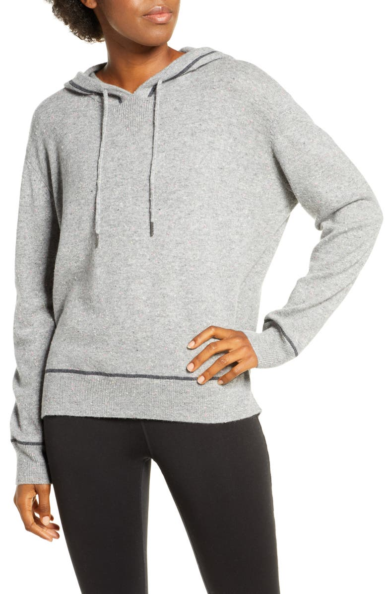 ZELLA Cozy Wool & Cashmere Hoodie Sweater, Main, color, GREY MEDIUM HEATHER