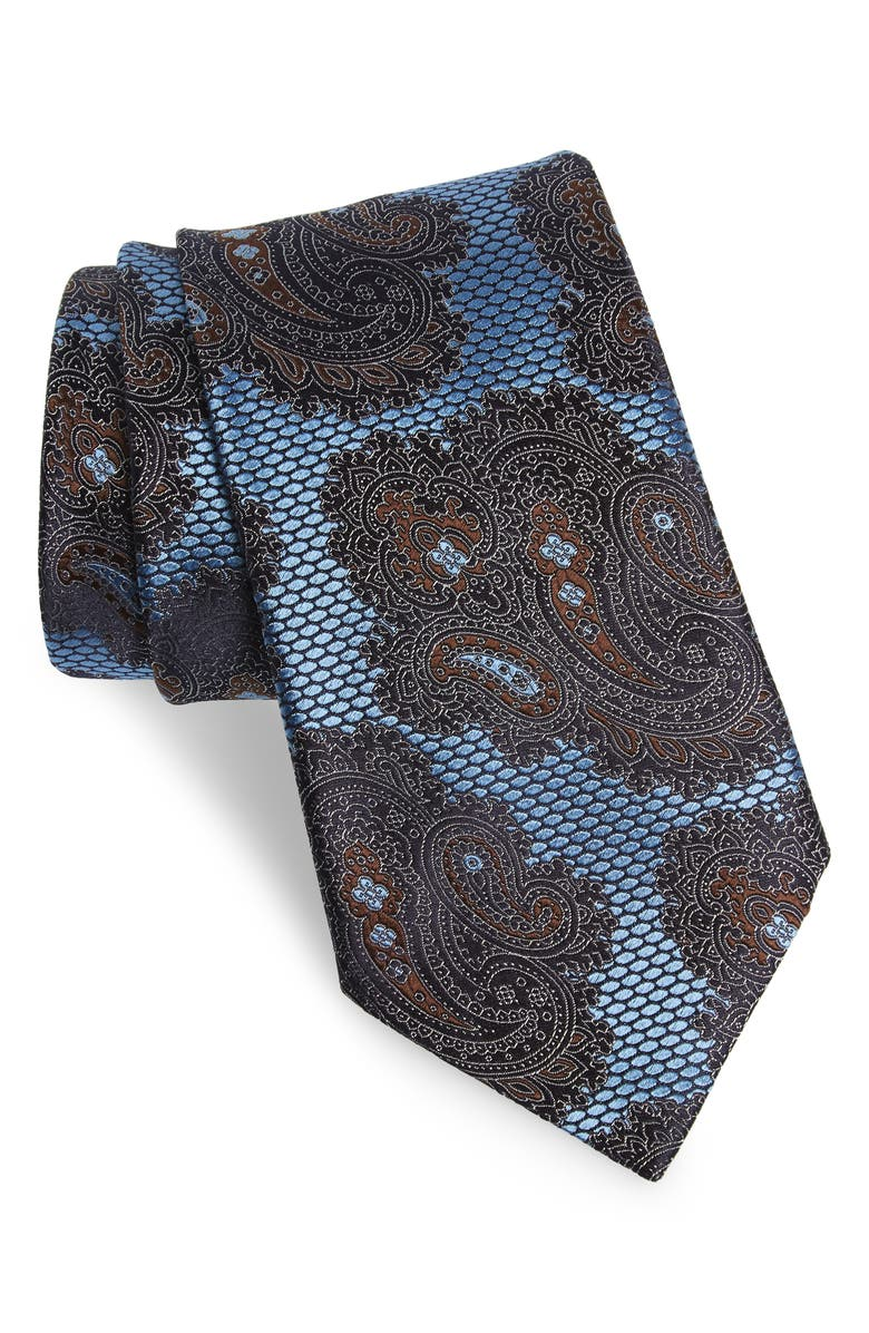 ERMENEGILDO ZEGNA Paisley Silk Tie, Main, color, NAVY