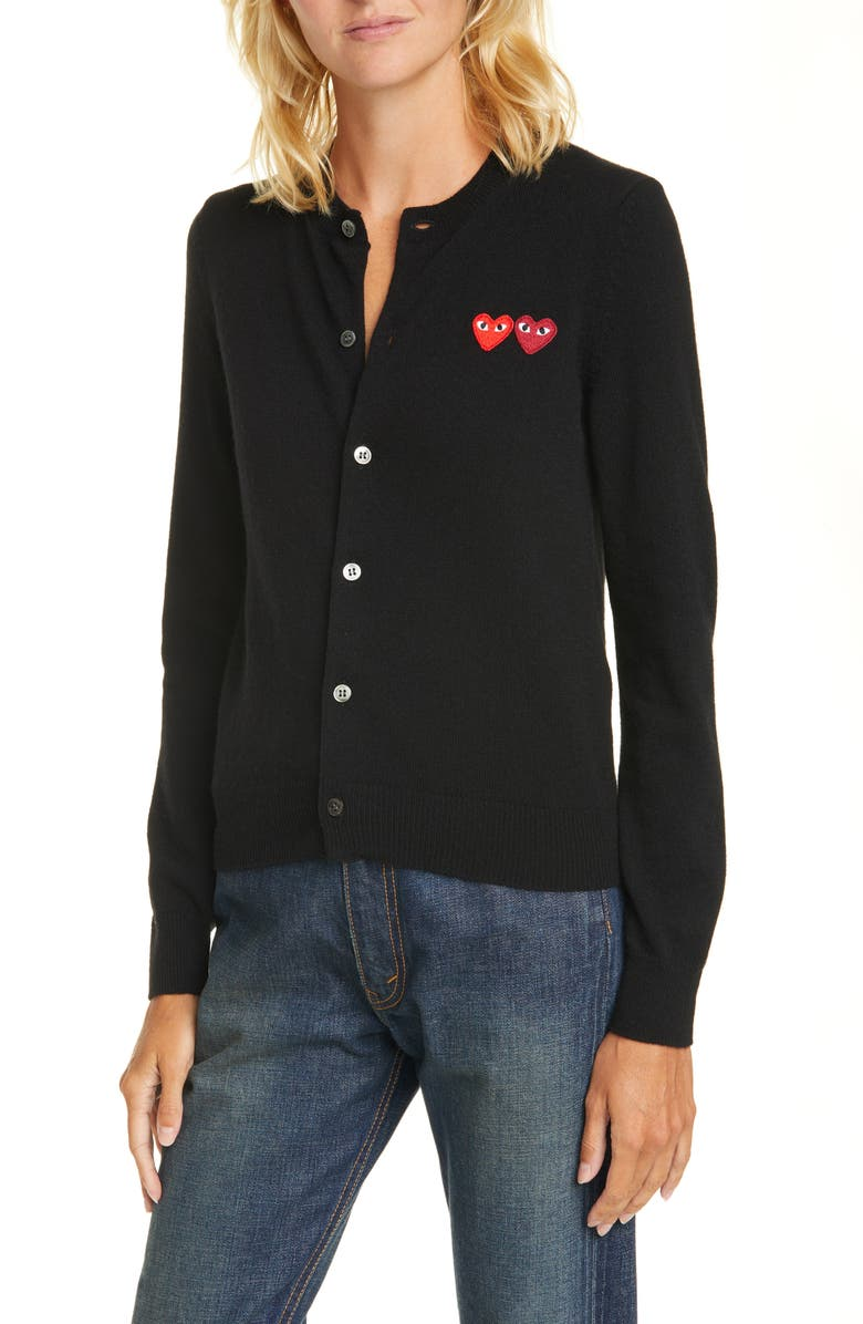 COMME DES GARÇONS PLAY Wool Cardigan, Main, color, BLACK
