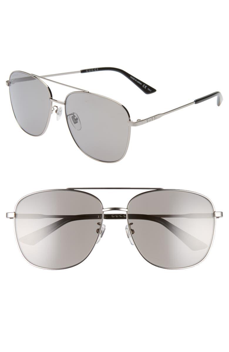 GUCCI 61mm Navigator Sunglasses, Main, color, RUTHENIUM