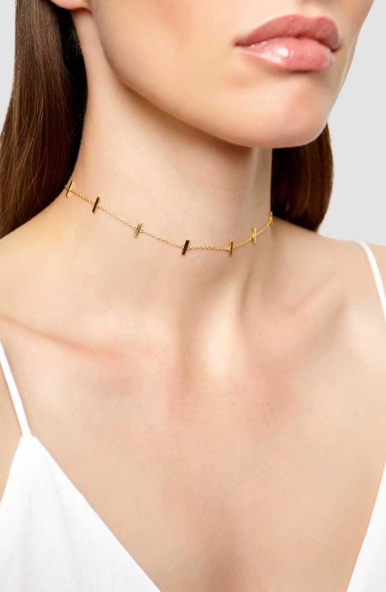 ARGENTO VIVO STERLING SILVER Bar Station Chain Choker, Main, color, GOLD