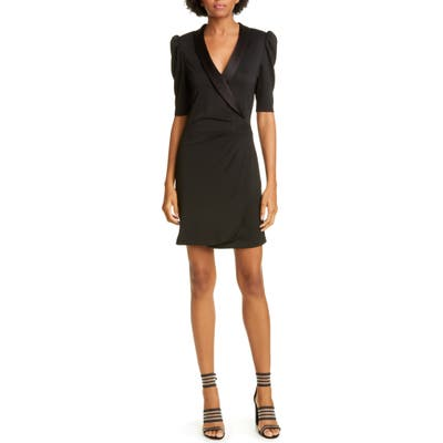 Alice + Olivia Remi Deep V-Neck Tuxedo Dress, Black