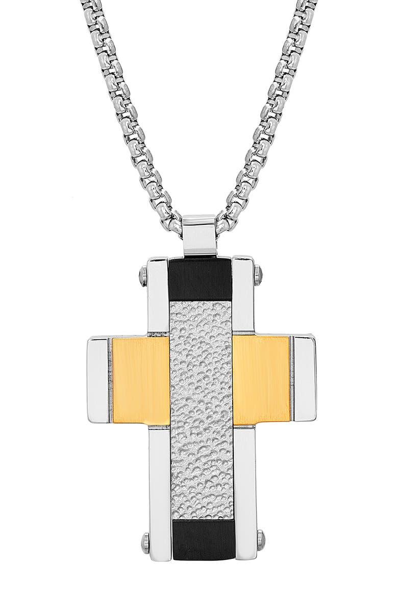 STEVE MADDEN Cross Pendant Necklace, Main, color, 040