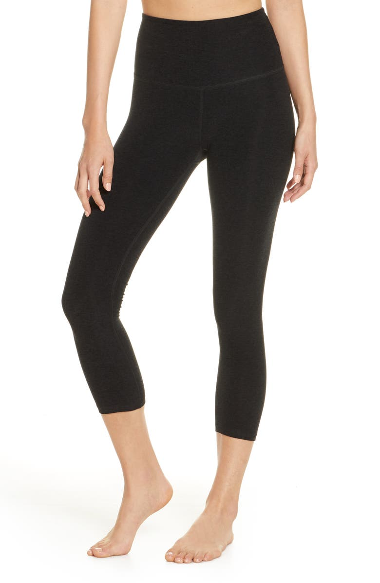 BEYOND YOGA High Waist Capris, Main, color, DARKEST NIGHT
