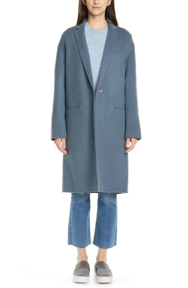 VINCE Double Face Wool Blend Coat, Main, color, STORM
