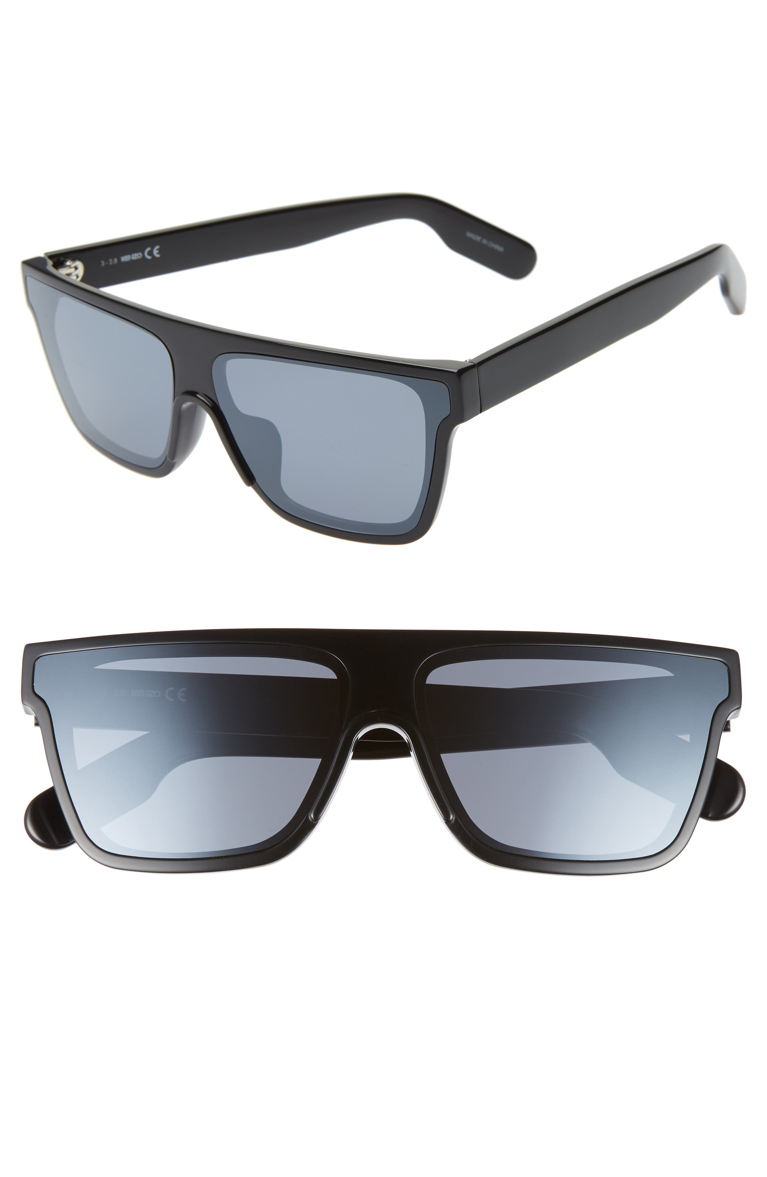 67mm Special Fit Oversize Flat Top Sunglasses, Main, color, SHINY BLACK/ SMOKE MIRROR