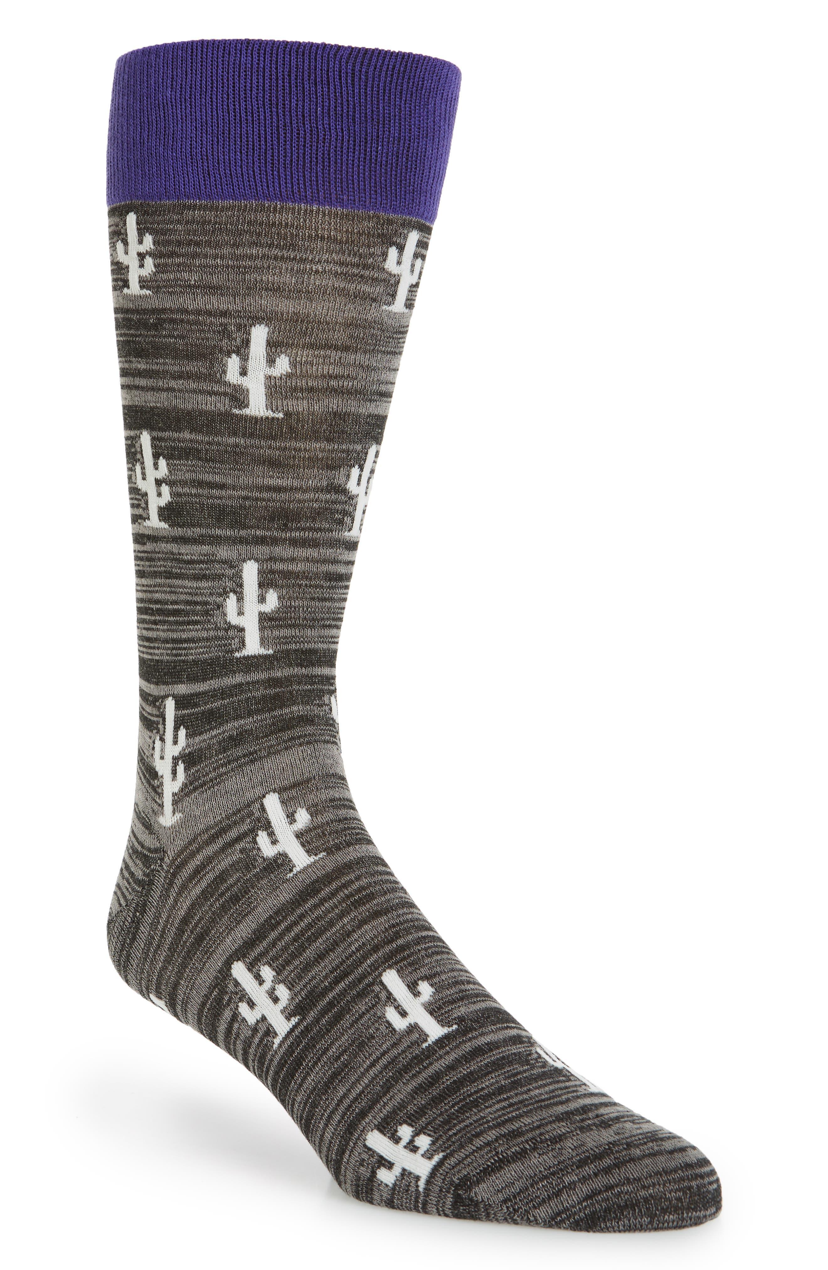 Cactus Crew Socks, Main, color, BLACK