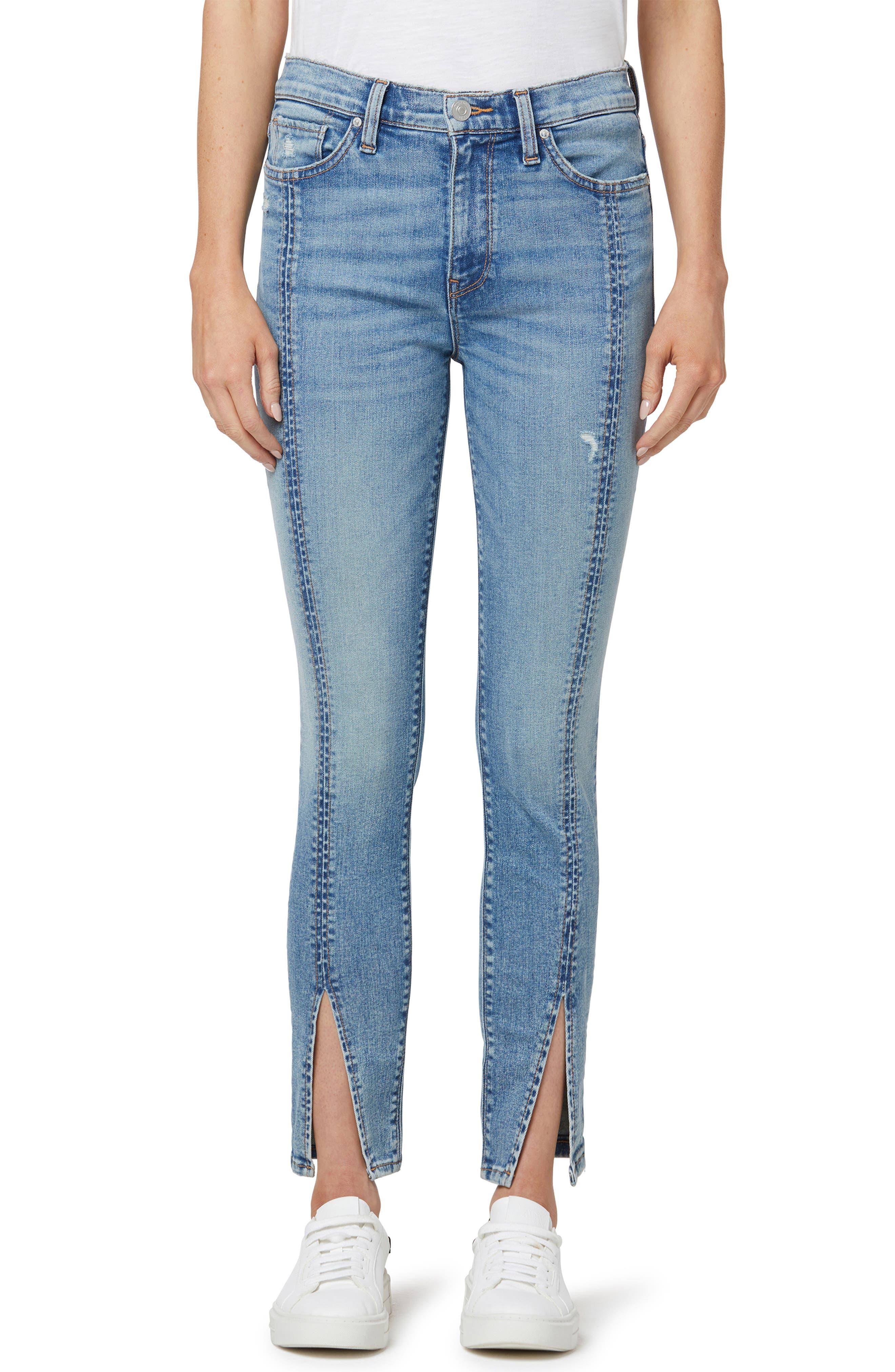 Barbara High Waist Distressed Split Cuff Organic Cotton Skinny Jeans