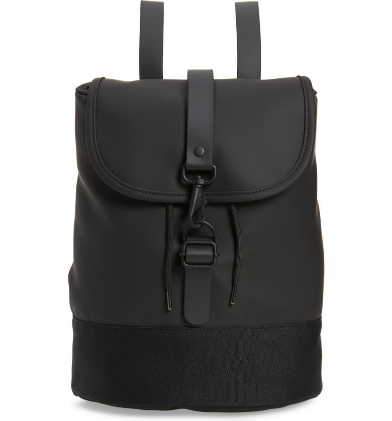 RAINS Waterproof Drawstring Backpack, Main, color, BLACK