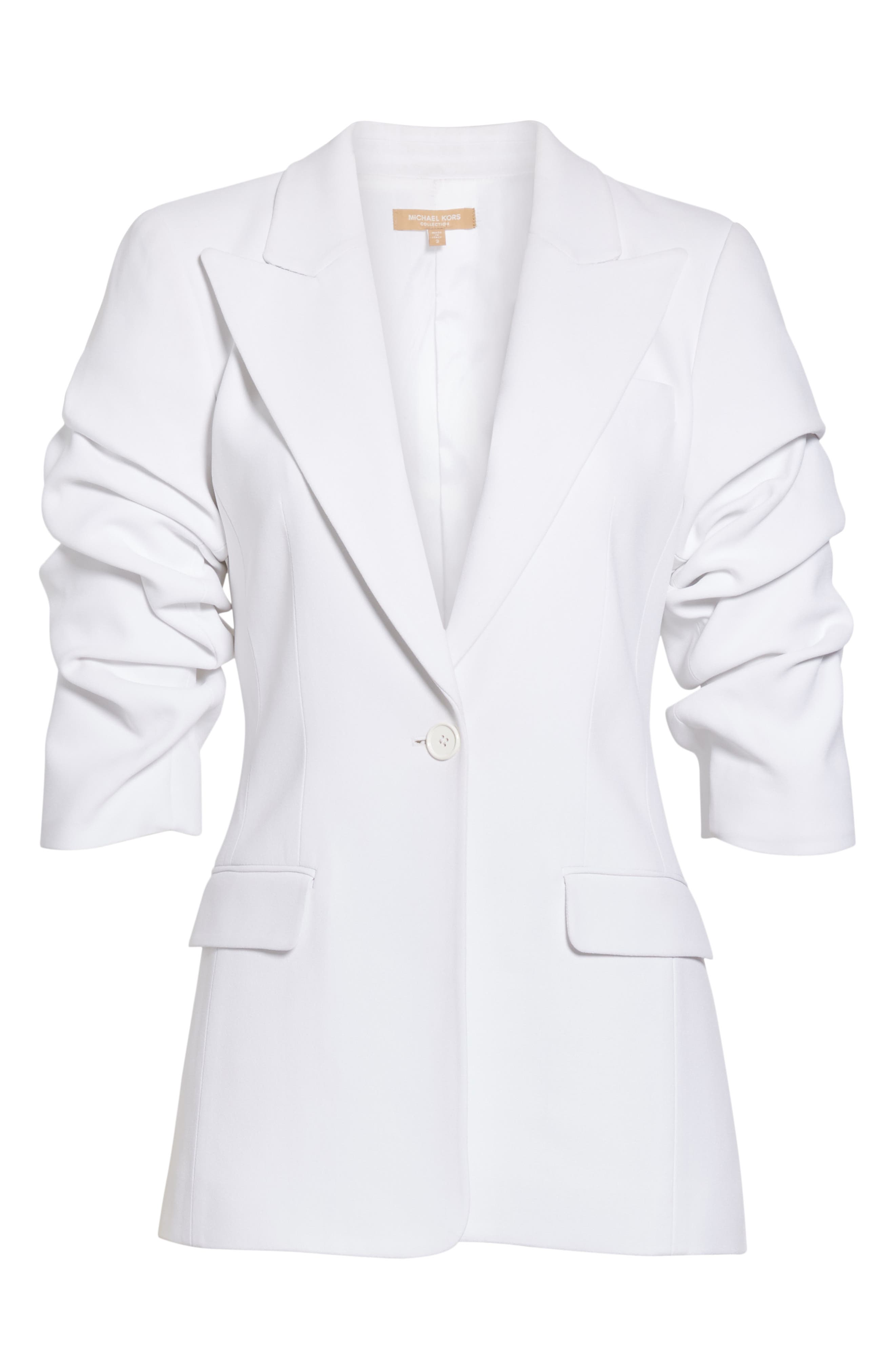 ,                             Ruched Sleeve Blazer,                             Alternate thumbnail 7, color,                             OPTIC WHITE