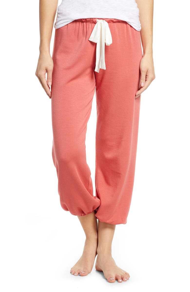 EBERJEY Winter Heather Crop Pants, Main, color, MINERAL RED