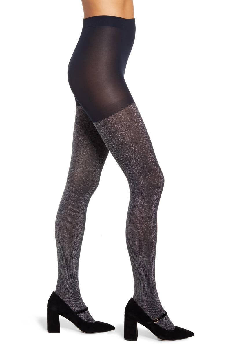 HALOGEN<SUP>®</SUP> x Atlantic-Pacific Sparkle Ribbed Tights, Main, color, NAVY BLAZER