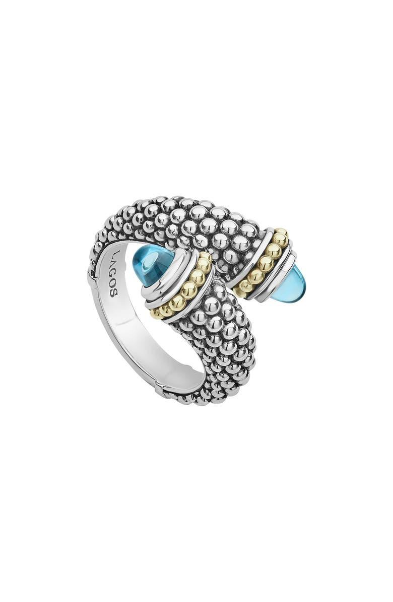 LAGOS Signature Caviar Crossover Ring, Main, color, SILVER/ BLUE TOPAZ