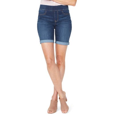 Nydj Roll Cuff Pull-On Denim Shorts, Blue