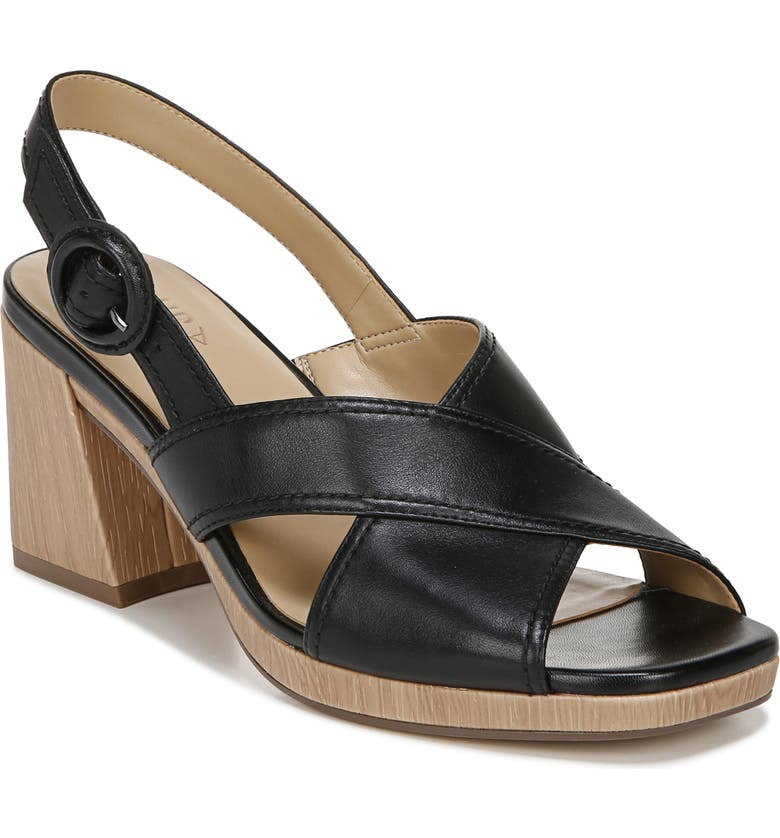 NATURALIZER Renly Slingback Sandal, Main, color, BLACK LEATHER