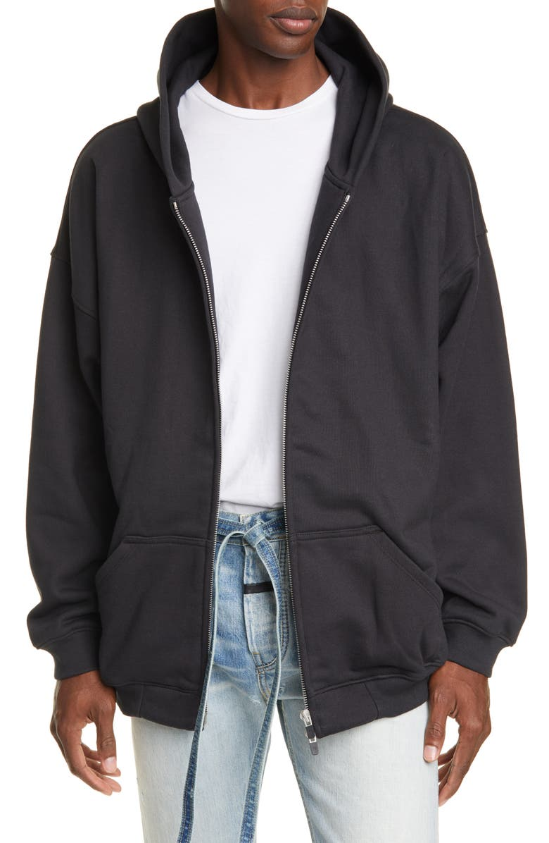 FEAR OF GOD Everyday Oversize Zip Hoodie, Main, color, VINTAGE BLACK