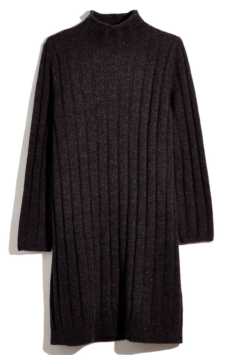 MADEWELL Donegal Rolled Mock Neck Sweater Dress, Main, color, DONEGAL COAL