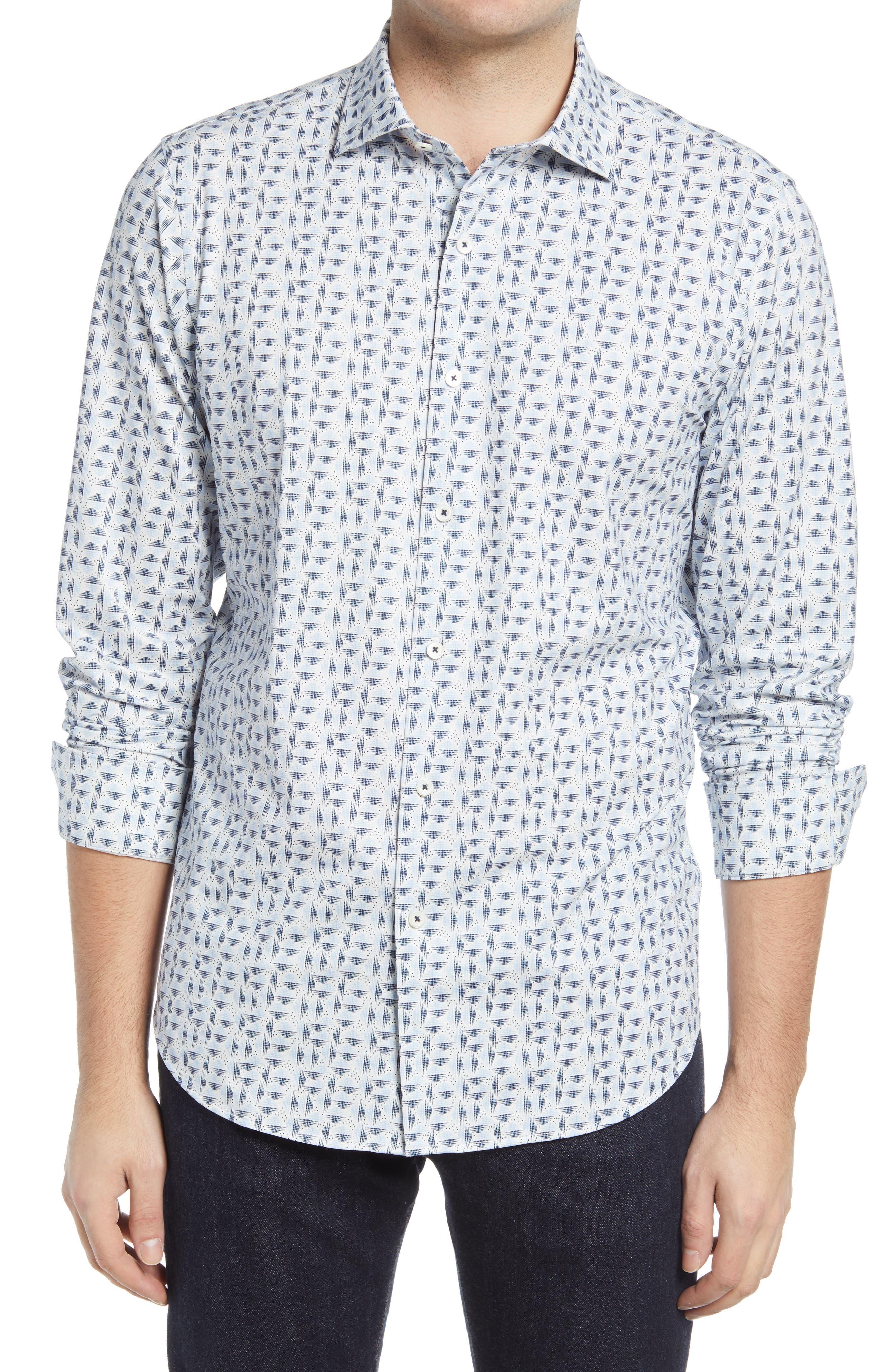 Ooohcotton Tech Geo Print Knit Button-Up Shirt
