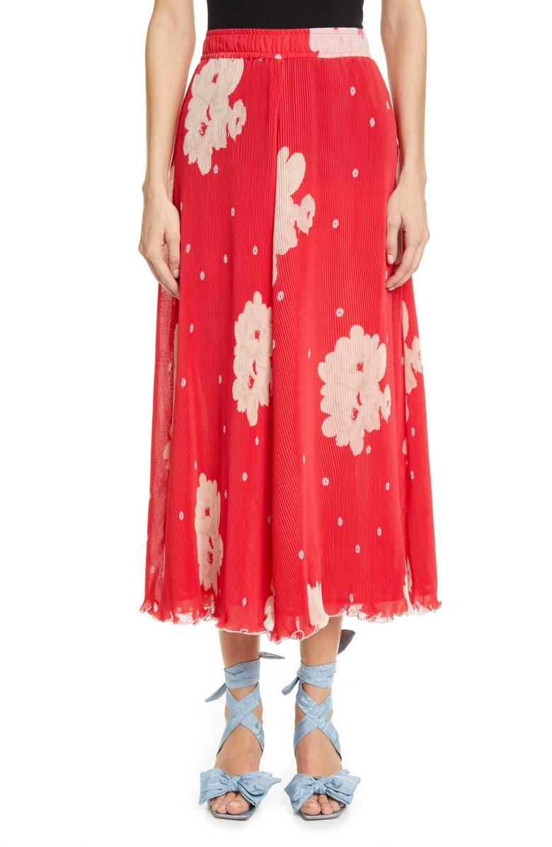 GANNI Floral Plissé Pleated Georgette Skirt, Main, color, LOLLIPOP