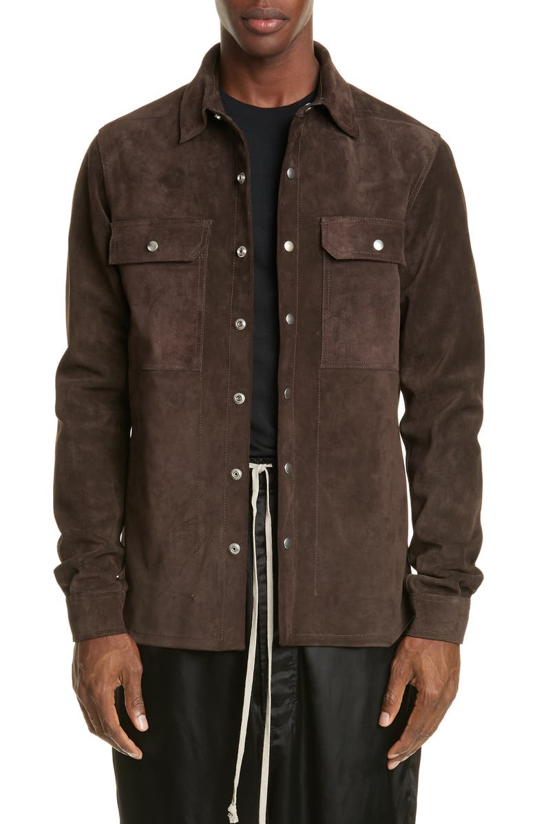 RICK OWENS Giacca in Pelle Snap-Up Suede Shirt, Main, color, BROWN