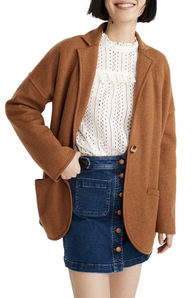 MADEWELL Saville Sweater Blazer, Main, color, HEATHER PECAN