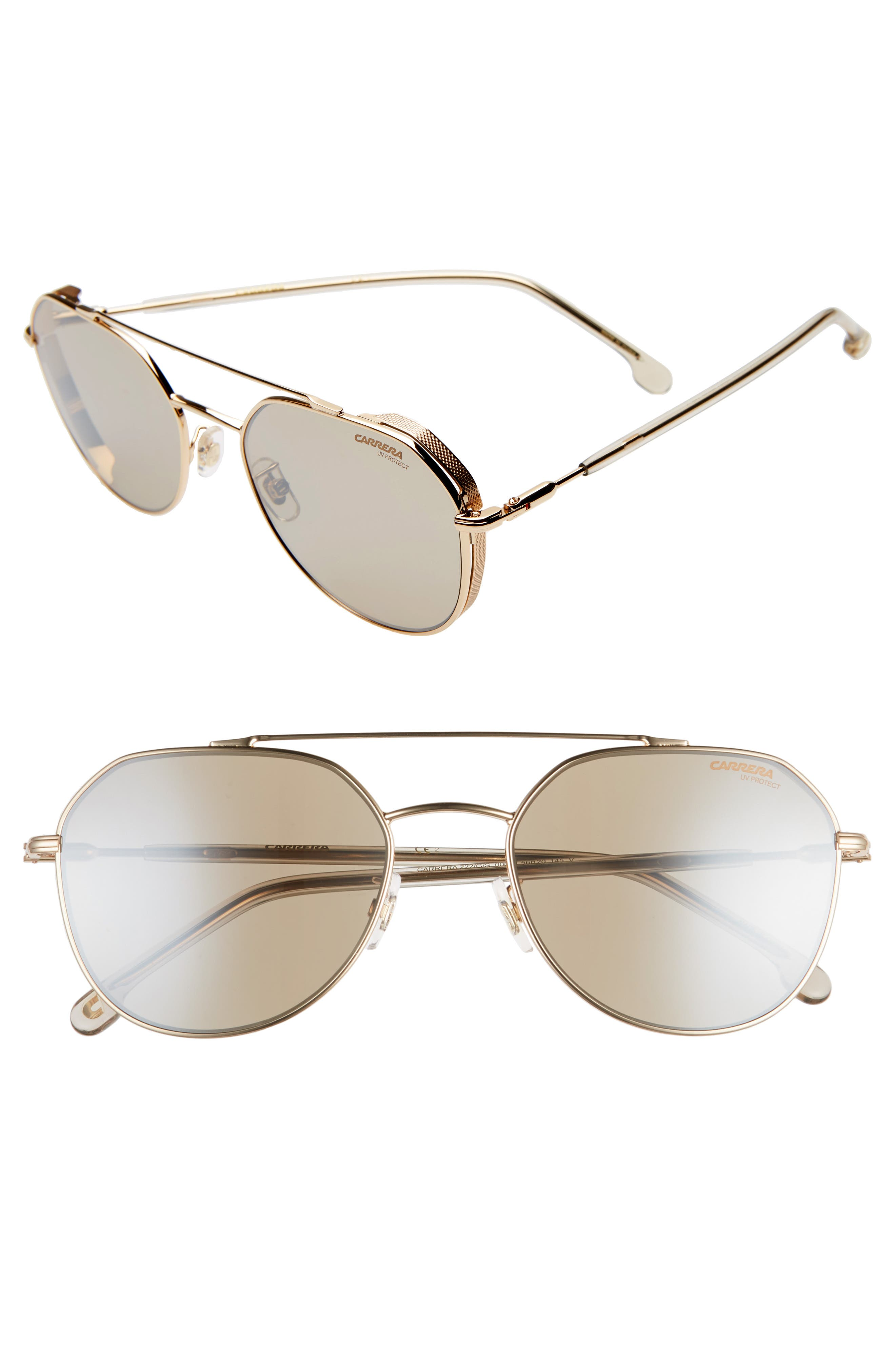 Polished stainless steel frames define lightweight sunglasses fitted with smart polarized lenses for high-quality vision protection. Style Name: Carrera Eyewear 56mm Polarized Aviator Sunglasses. Style Number: 6022333. Available in stores.