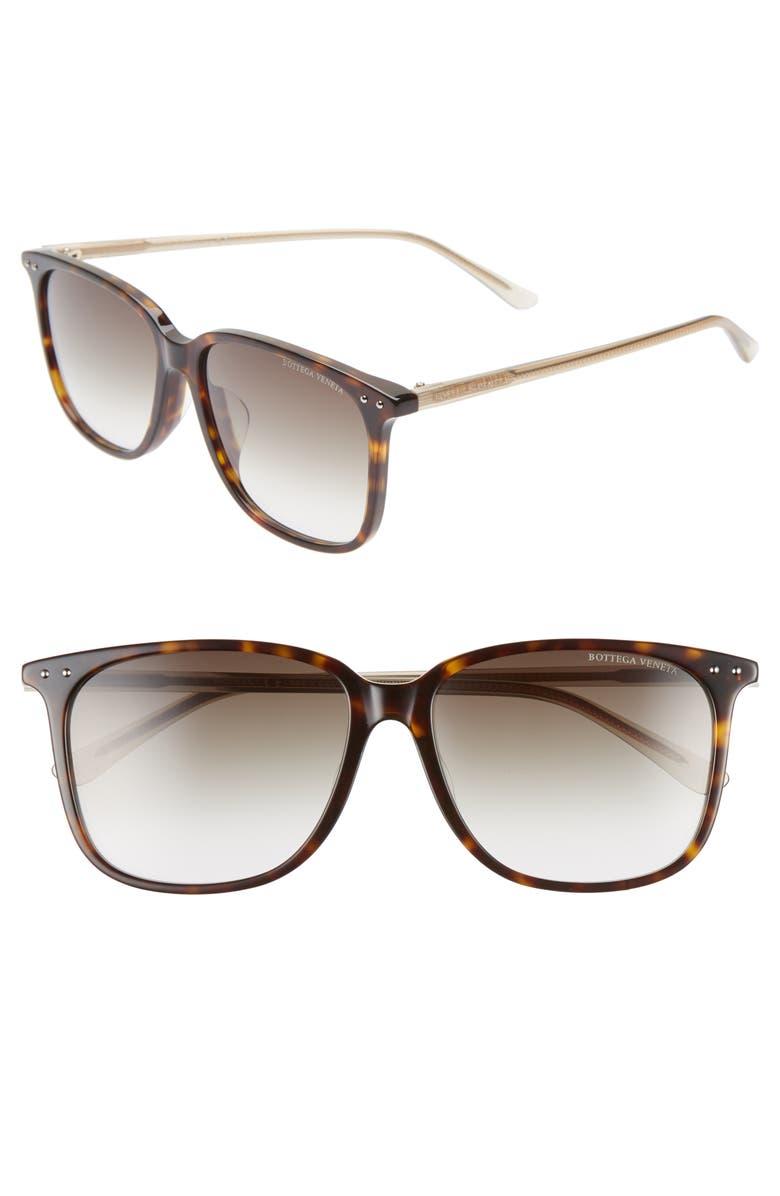 BOTTEGA VENETA 58mm Gradient Square Sunglasses, Main, color, BROWN/ GREEN