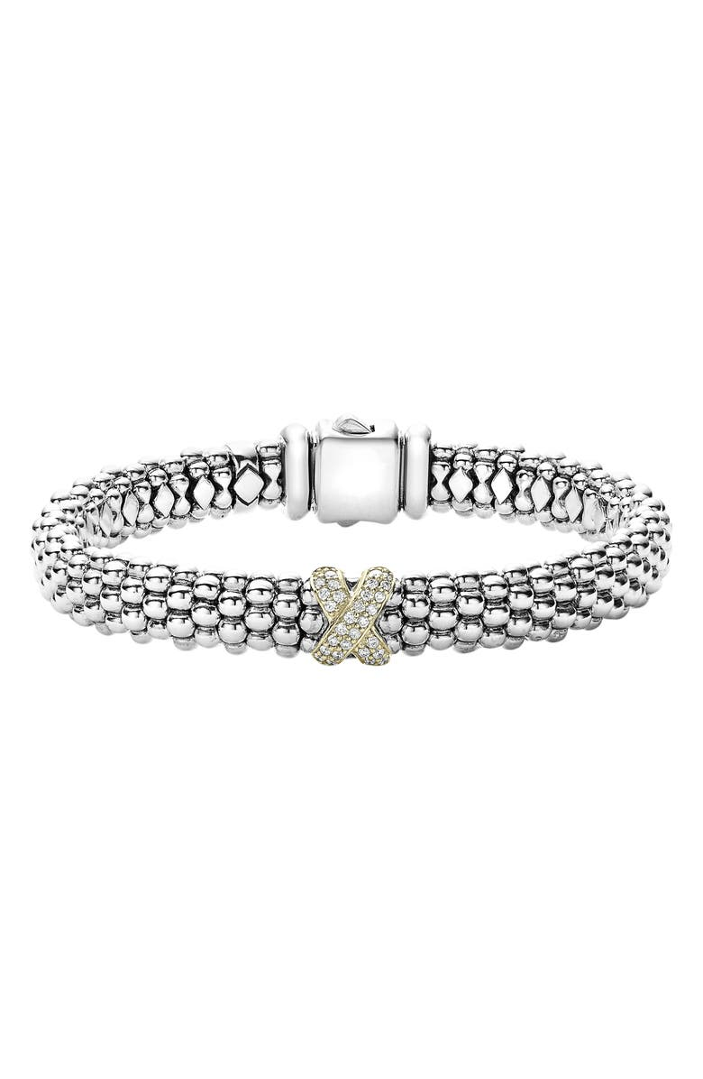 LAGOS Diamond Lux Single Station X Bracelet, Main, color, SILVER/ GOLD