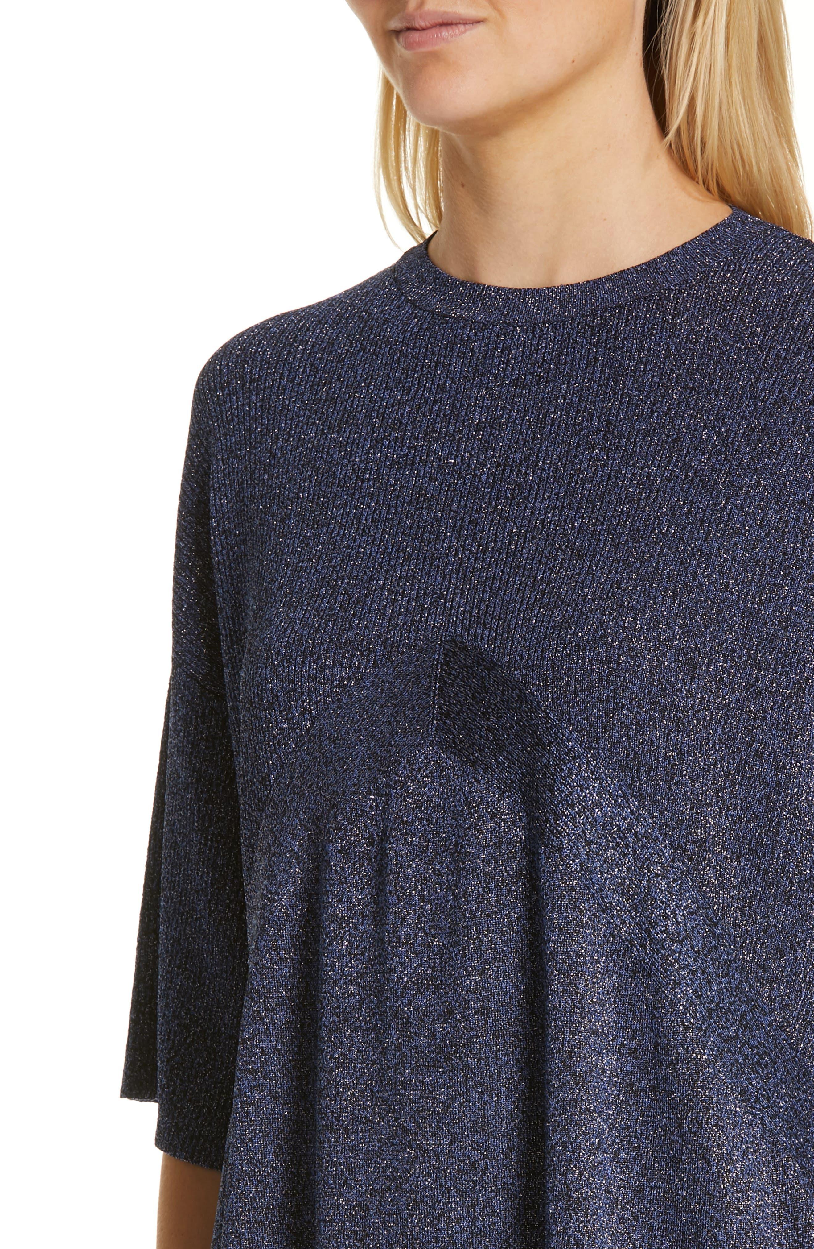 ,                             Metallic Knit Sweater,                             Alternate thumbnail 5, color,                             BLUE