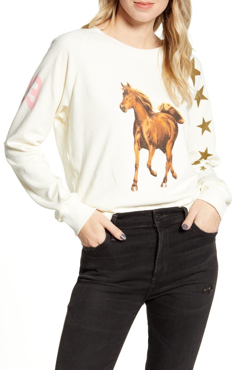 WILDFOX Star Jockey Fiona Crewneck Cotton Sweatshirt, Main, color, ANTIQUE
